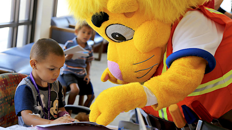 Birthday fun for patients at LLU Children's Hospital celebrating Luke the Lion