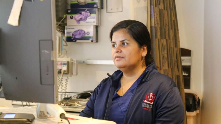 Female nurse working on the computer