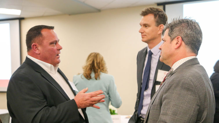 Jonathan Ingram, left, mayor of Murrieta, spoke to Peter Baker, center, administrator for LLUMC – Murrieta, and Edward Field, VP/administrator of LLUBMC, about his vision to see Murrieta become a medical corridor.