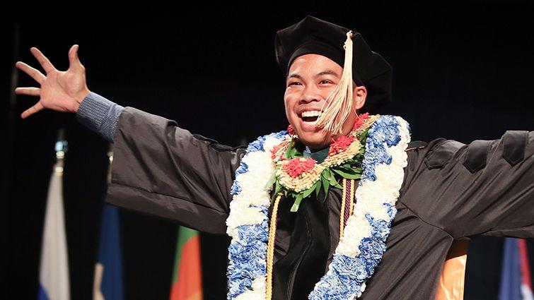 A graduate reflects the joyous mood of graduation day 2018 at Loma Linda University