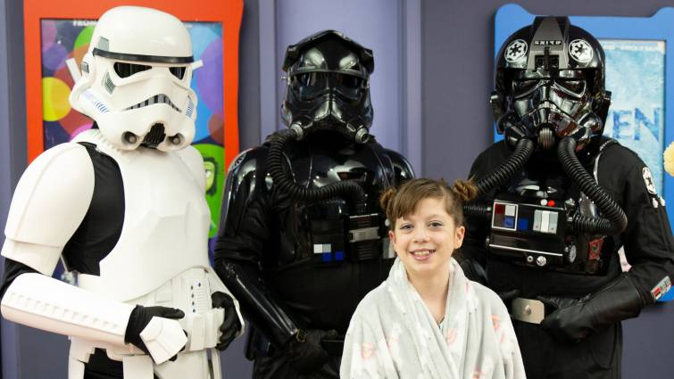 LLU Children's Hospital patient with Star Wars characters