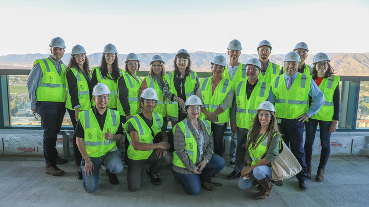 representatives from san manuel band of mission indians stand on balcony of new hospital tower