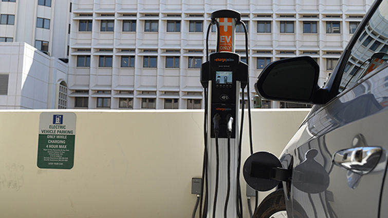 Car at a ChargePoint EV station