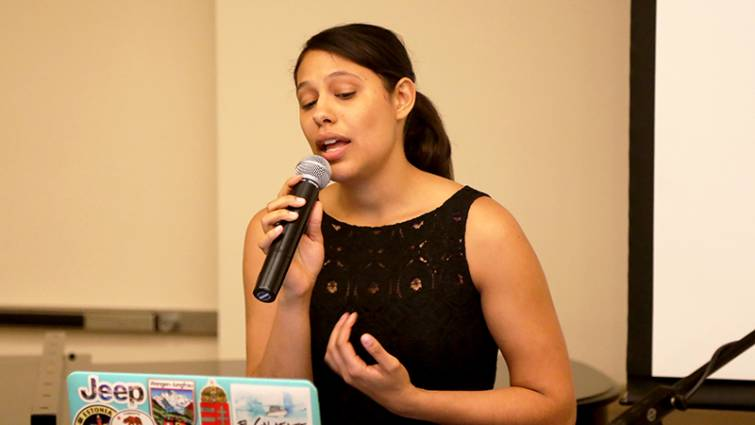 Laryssa Do Ouro-Rodrigues, a first year medical student, sang with passion and enthusiasm at the Third Annual Hispanic Heritage Vespers & Dinner.
