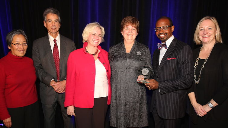 Loma Linda University Health leadership accept the Top Teaching Hospital by The Leapfrog Group