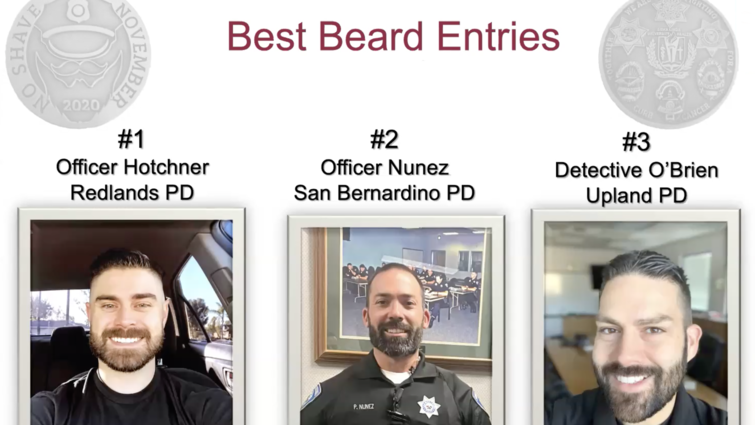 """Contestants from three Inland Empire police departments pose to display their full-grown beards in hopes of claiming top title in the """"Best Beard"""" category for the 2020 No Shave November award ceremony which was hosted virtually via Zoom on Nov. 30. Eight participating law enforcement departments from the region raised nearly $25,000 for Loma Linda University Cancer Center, more than double the sum of last year's No Shave November funds."""