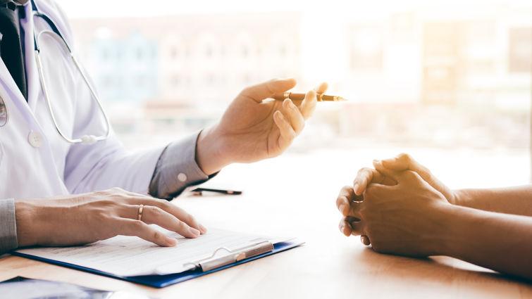 hands on desk