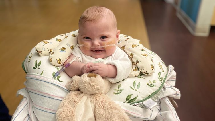 young male baby in hospital