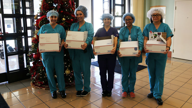 Loma Linda University Medical Center Operating Room department staff sponsored eight 'Give to a Giver' boxes.