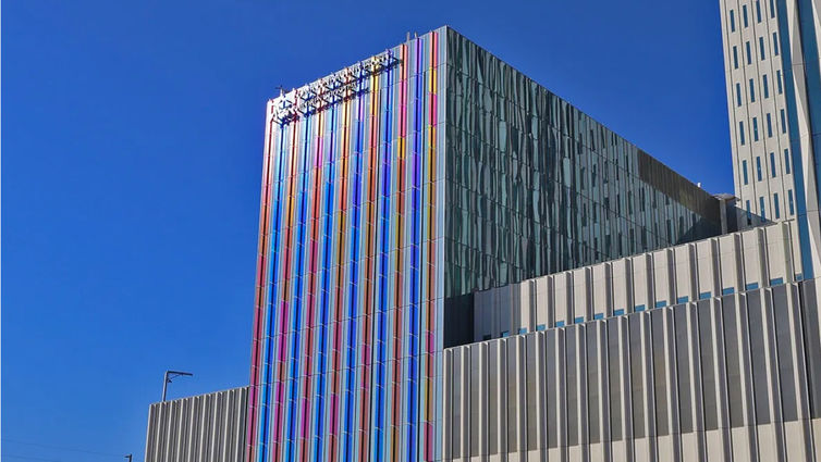 Children's Hospital tower colorful facade