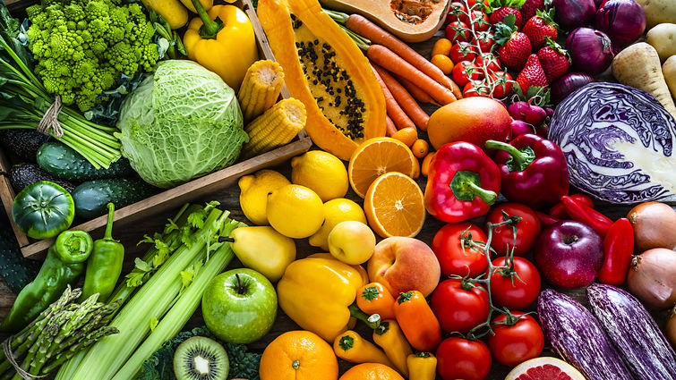 Colorful assortments of fruits and vegetables