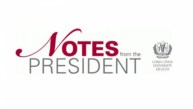 Masthead graphic design saying Notes from the President with logo