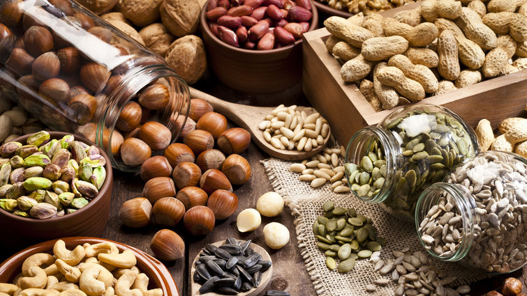 Arrangement of nuts and seeds on a table