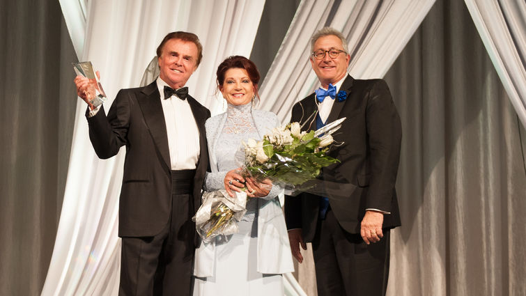 Redlands philanthropists Tim and Carol Rochford accept the Lifetime Achievement on stage during the 25th Anniversary Reflection Gala