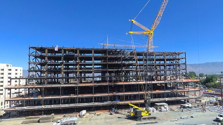 The completed framing for the Children's Hospital tower as seen from parking structure P4, next to the FMO.