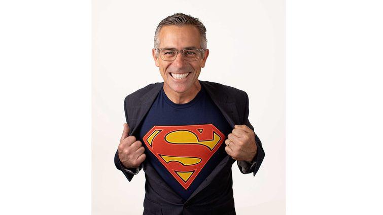 man in superman shirt