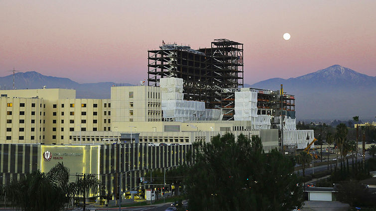 Moon rise over Loma Linda Medical Center