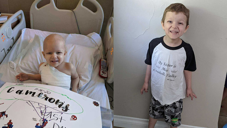 side by side photos of Cameron; one in hospital bed sick and smiling, the other healed at home and smiling
