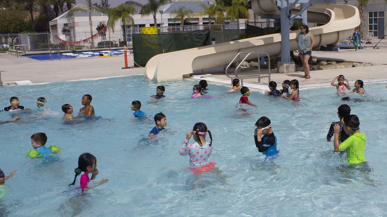 Loma Linda Academy first graders enjoy a pool party at Drayson Center, where proper water safety is demonstrated