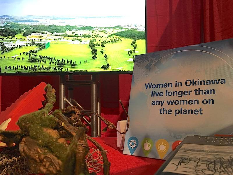 A booth representing Okinawa, Japan, one of the five Blue Zones, at the Healthy People Conference.