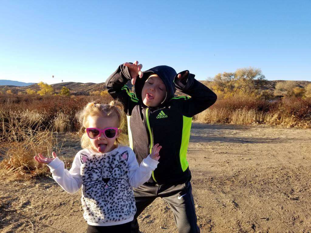 Vivian and Davey hamming it up on a family camping trip