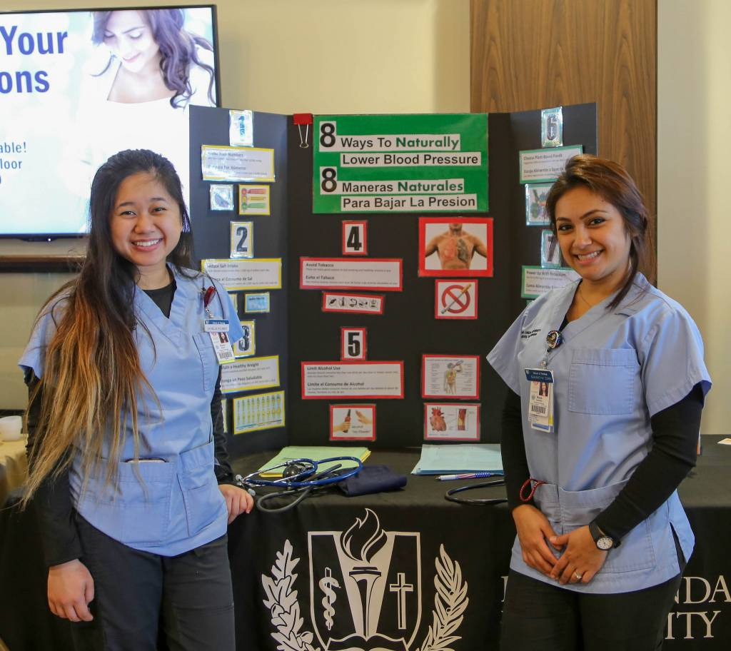 Loma Linda University Health School of Nursing students offered free blood pressure screenings.