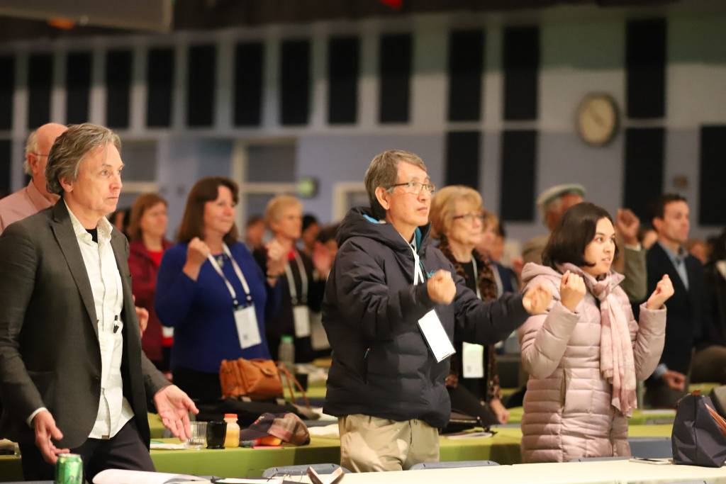 Attendees participated in daily stretches and physical activity during the conference.