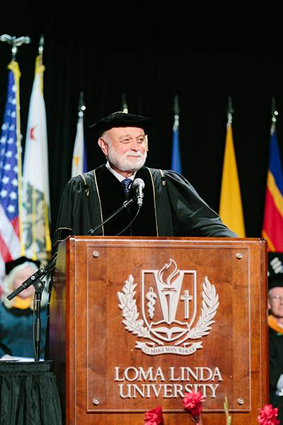 President Hart extends a warm welcome to the School of Public Health commencement service.