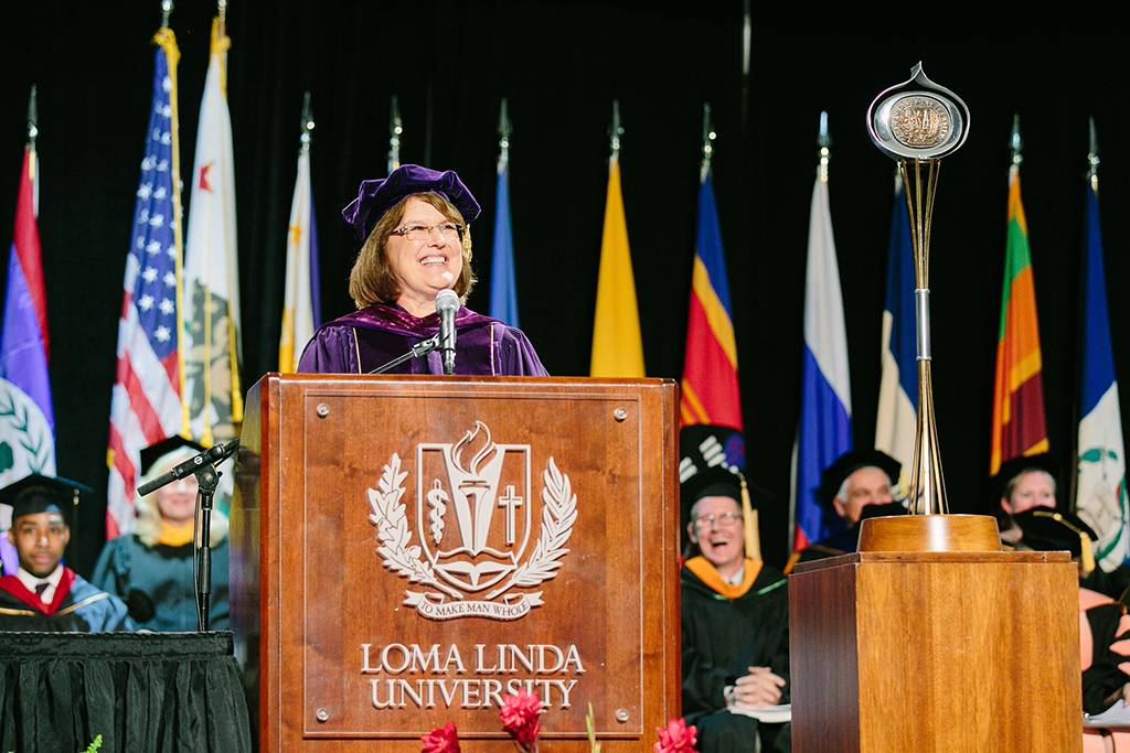 Dean Marshak asked attendees to help her welcome the class of 2018 to the event.