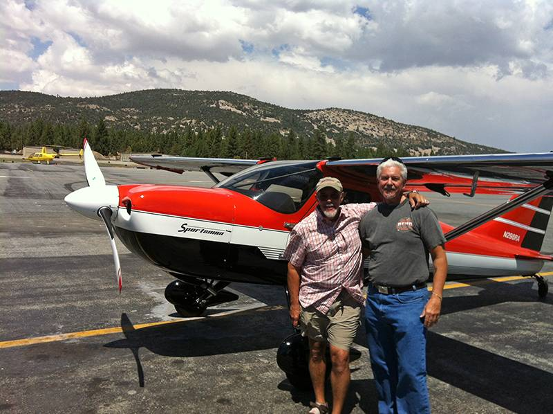 Dave Ammenti and John Ready at Big Bear Airport with the Sportsman aircraft Ammenti built.
