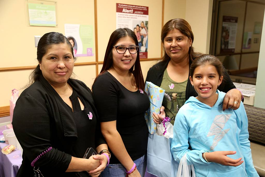Gabriela Campos (second from left) is dealing with prematurity right now. Her son Emmett is currently recovering in the cardiac care unit. Emmett's two grandmothers, Martha Ramos (L) and Norma Campos (second from right) and aunt, Julie Campos, joined Gabriela at the baby shower.