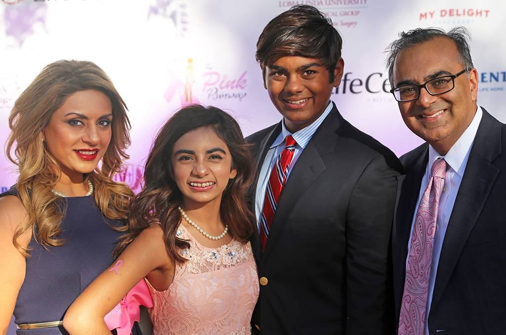 Promoting breast health is a family affair for Subhas Gupta, MD (right), his wife Seema, daughter Saira, and son Shayle.
