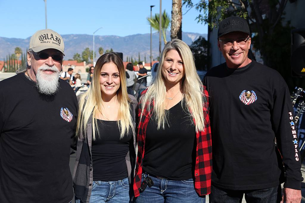 Glenn and Gordon Quaid with Lexi and Tiffany Hoekstra. The Quaid Brothers own Quaid Harley-Davidson, Lexi is a freshman nursing student at Point Loma Nazarene University, and her mom is a senior development officer for LLU Children's Hospital.