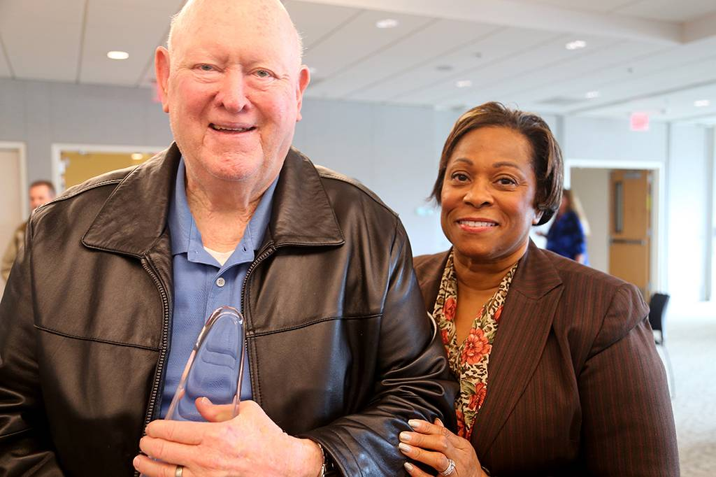 Don and Rita Bender celebrate Don's recognition for his pioneering role as the original life safety officer at Loma Linda University 40 years ago.