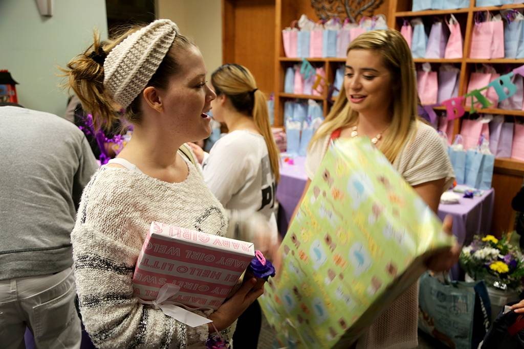 And the winner is . . . Emily Stiltz (L) of Wrightwood. Stiltz gave birth to a baby girl on October 20.