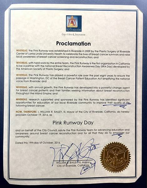 Official proclamation signed by the Mayor of Riverside designating October 19 as Pink Runway Day.