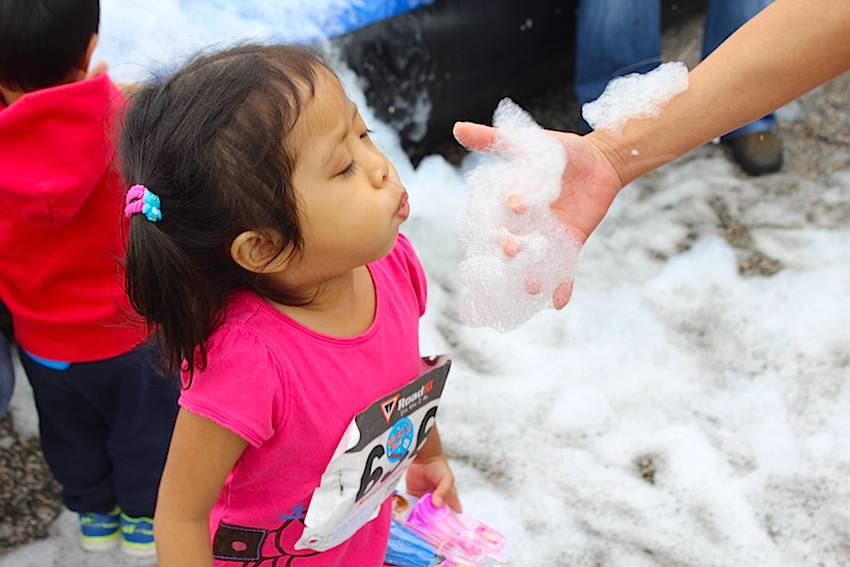 More fun was had in the foam pit located within the kids zone.