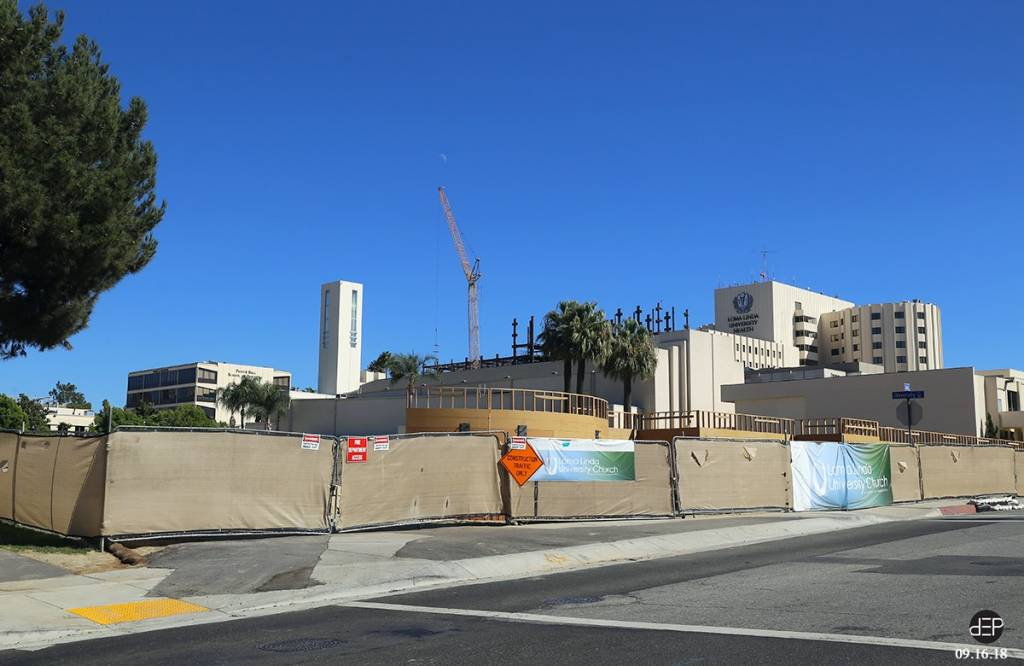 The columns viewed from Campus Street and University Avenue with the Loma Linda University Church and chapel construction project in the foreground.