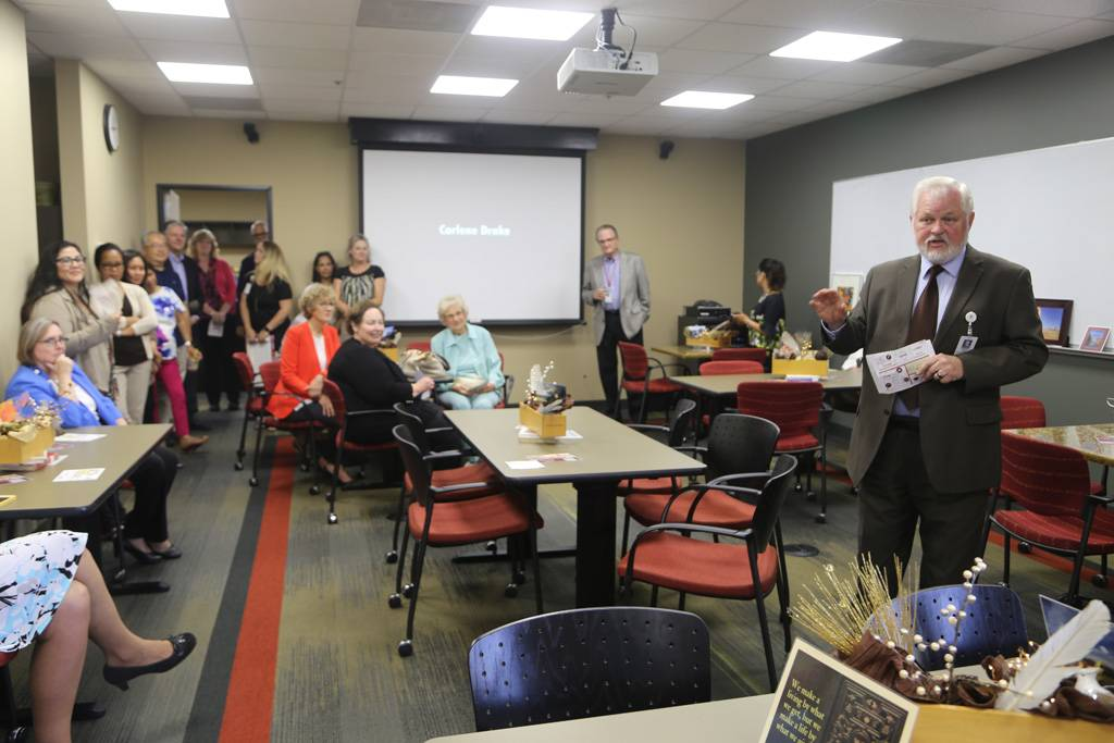 During a retirement reception held for Carlene Drake, Ronald Carter, PhD, provost at Loma Linda University, highlighted Drake's accomplishments.