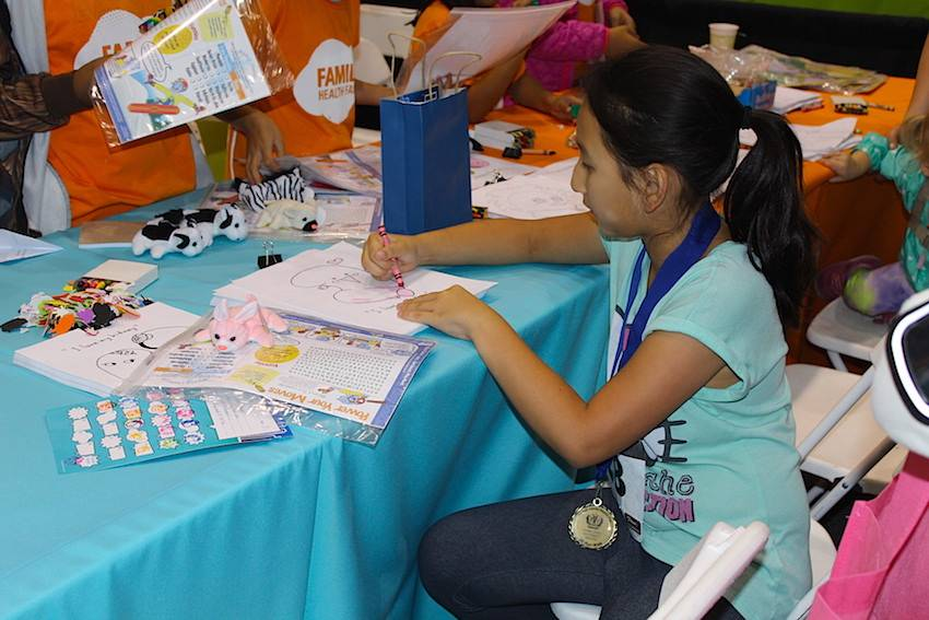 Several booths at the Family Health Fair offered crafts and coloring for kids to get creative.