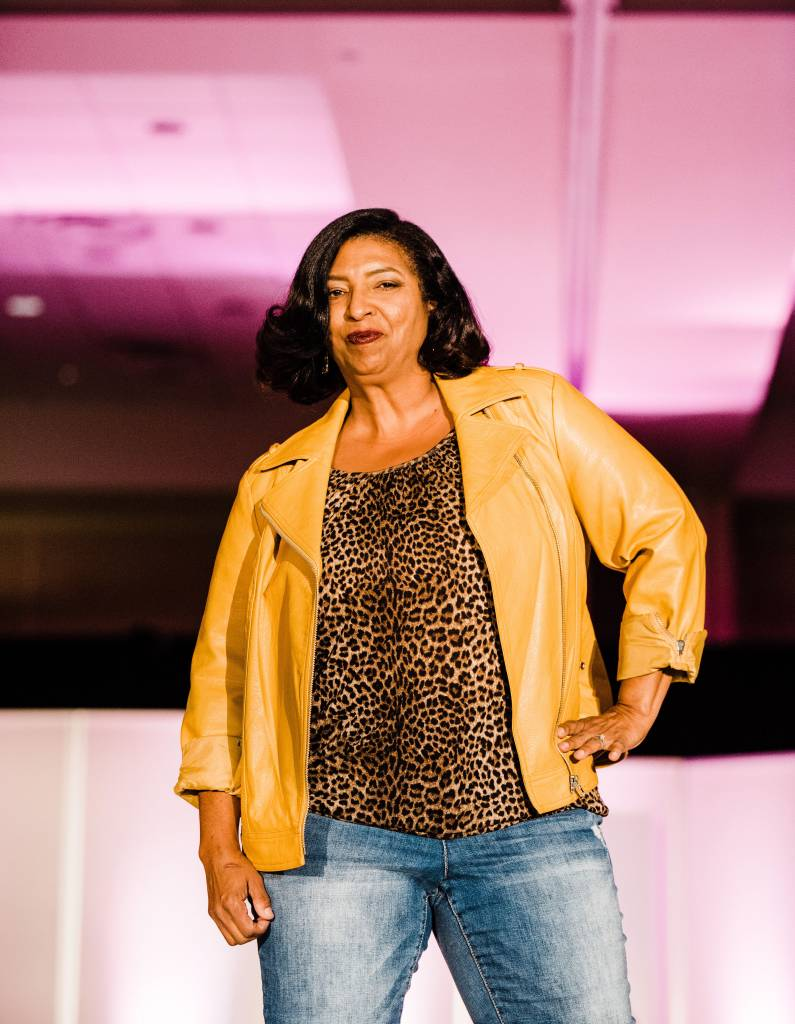 Dawn Hopson-Powell dons her cheetah and leather jacket. Photographed by Jennifer Costa Photography