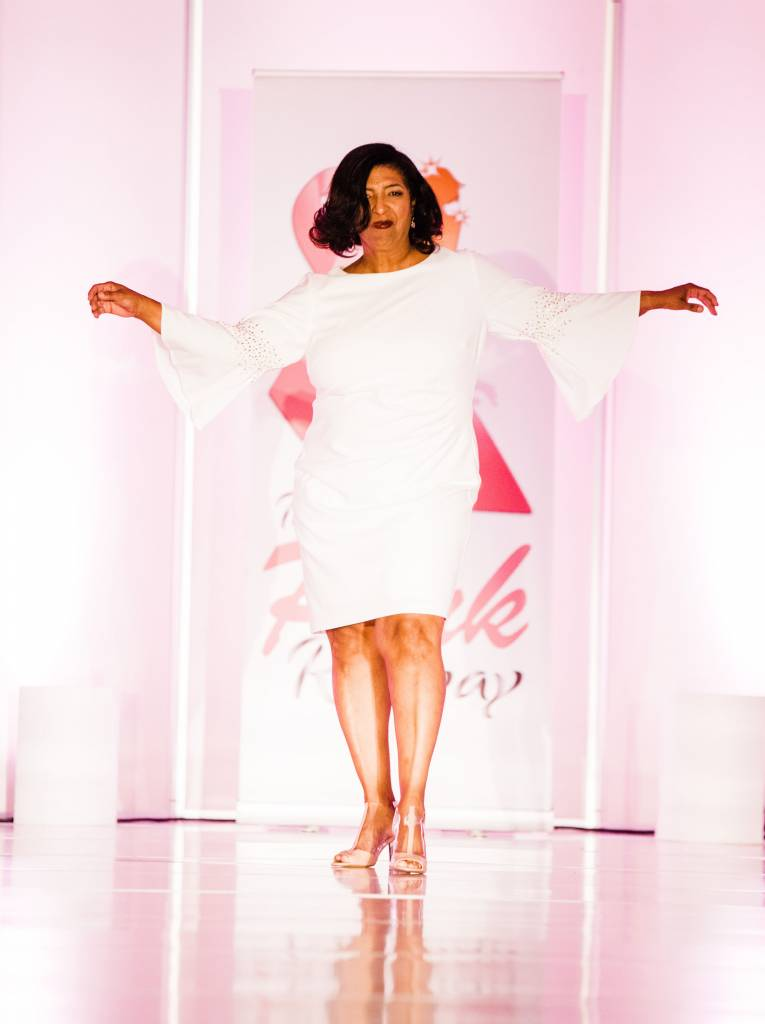 Dawn Hopson-Powell begins her vivacious strut down the runway. Photographed by Jennifer Costa Photography