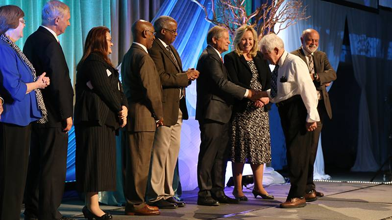 During the Loma Linda University Employee Service Recognition Banquet, Earnest Daniel was congratulated for his six decades of service by members of administration.