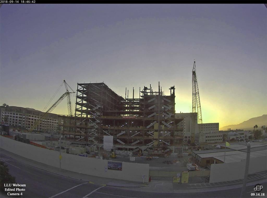 The construction site in mid-September at sunset.