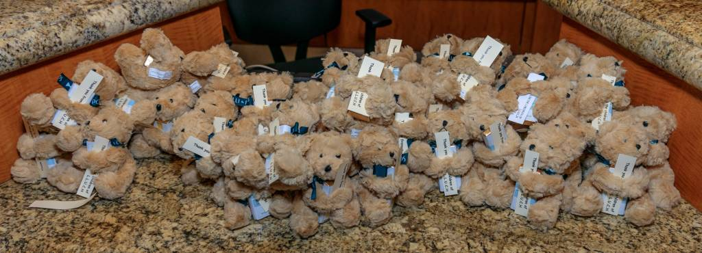 Each guest was sent home with a small plush teddy bear and chocolate.