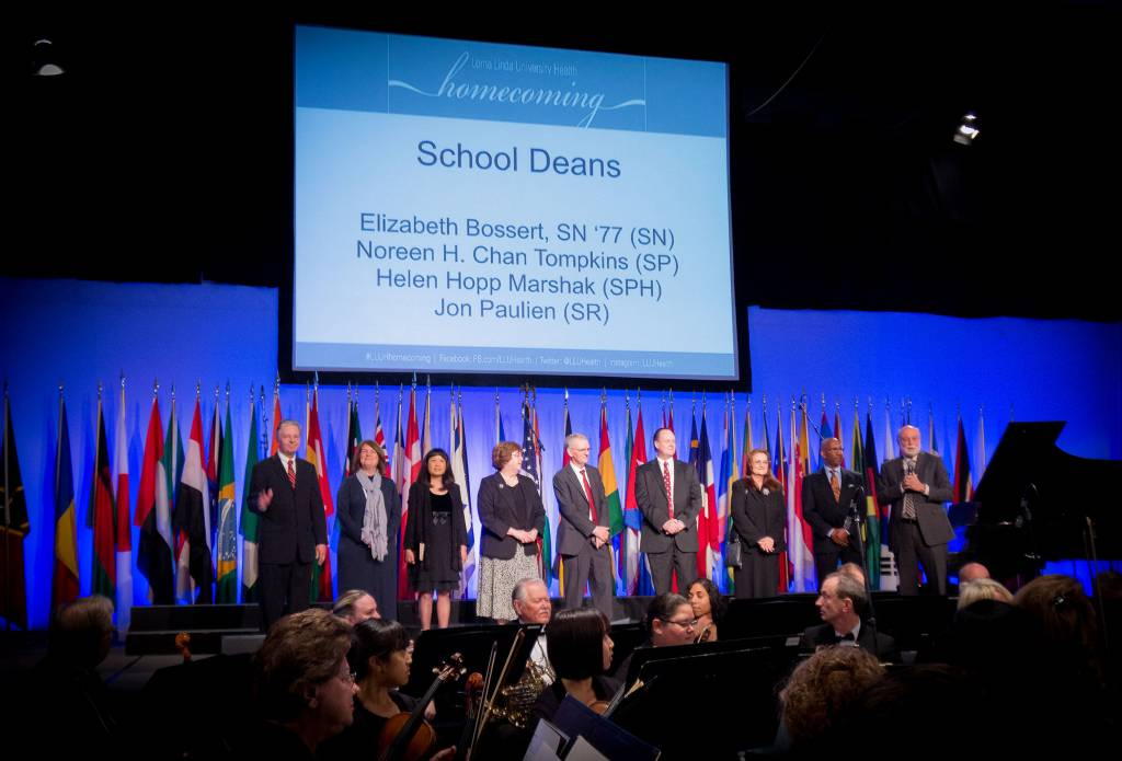 Deans of Loma Linda University's eight schools are introduced during the church service.