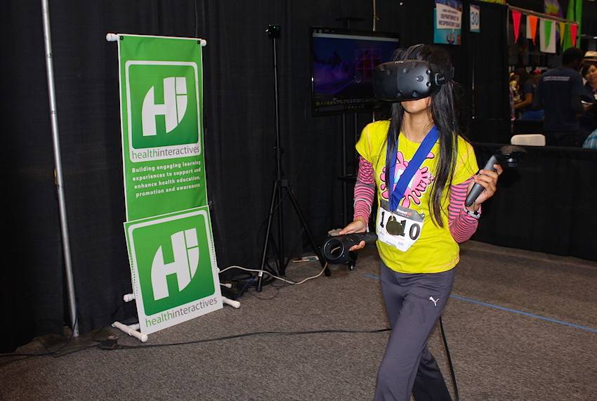 Kids were able to get up and get moving with this virtual reality activity.