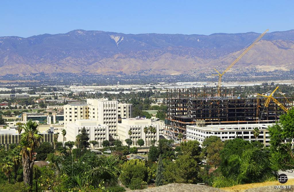Site view from West Lawton Avenue Cul de sac above the campus in the south Loma Linda Hills.