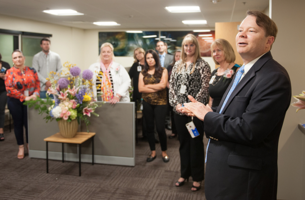Michael Rauser, MD, speaks at the ribbon-cutting ceremony at the new Retina Center on June 22. [photo by Ansel Oliver]