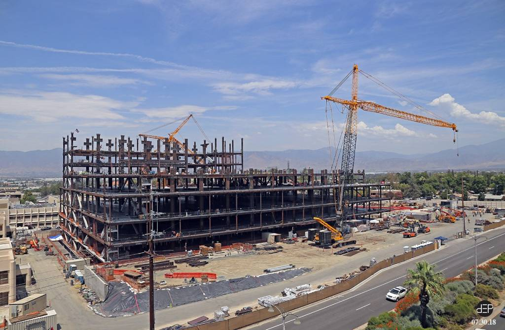 Two towers are now reaching for the sky at the Loma Linda University Medical Center construction site